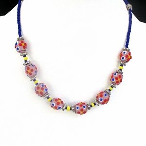Multicolor Lampwork Bead Necklace
